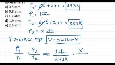 Calculando a pressão de um gás com volume constante - Isovolumétrica