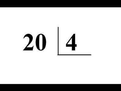 Divisão: 20 dividido por 4 = ?