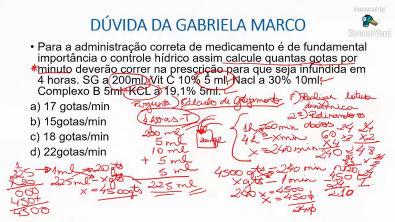 CÁLCULO DE GOTEJAMENTO COM REGRA DE TRÊS