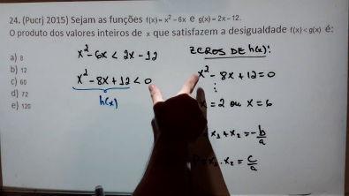Exercícios de Função Quadrática (Inequações) - 9