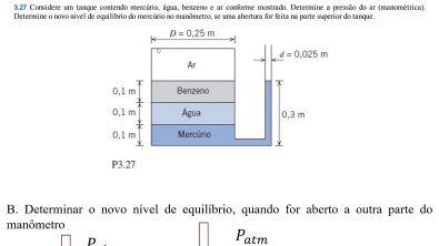 Aula 4- Estática do fluido - Parte 3/3 Resolução do Exercício 3 27, fox