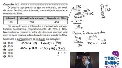 Enem 2020 - Matemática - Redução na mesada do filho