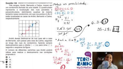 Enem 2020 - Matemática - Indo da casa do André para a casa do Bernardo sem passar pela casa do Carlos