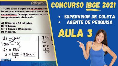 CONCURSO IBGE 2021 | AGENTE DE PESQUISA E SUPERVISOR DE COLETA | AULAS MATEMÁTICA REGRA DE 3 SIMPLES