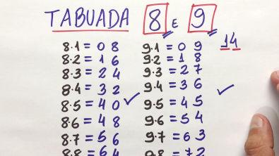 TABUADA DO 8 e do 9 pelo Método Ninja!