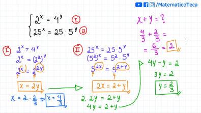 Sistema de equações exponenciais